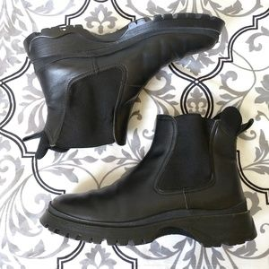 Prada chelsea ankle boots black lug sole leather